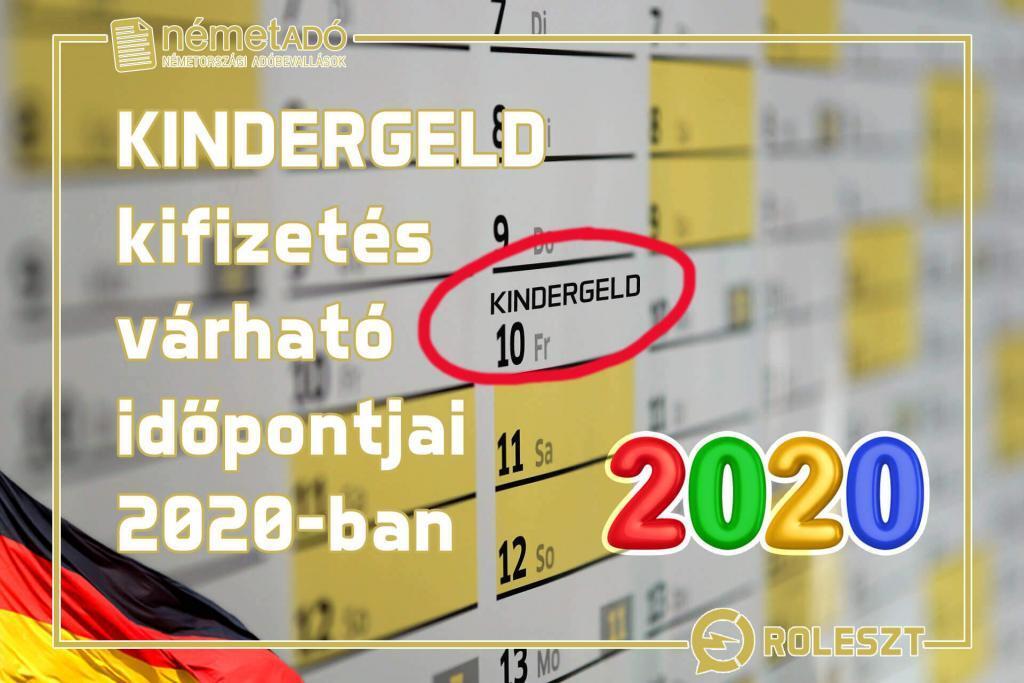 kindergeld kifizetés dátumok 2020-ban